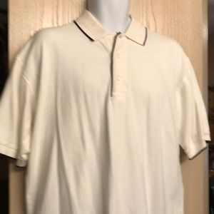 Men's White Polo Shirt Navy Blue Piping